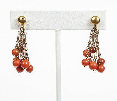 Red Coral Bead Dangle Tassel Earrings