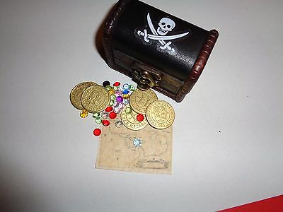 Caribbean Pirate Treasure Assortment With 6 Metal Gold Coins, Chest, Gems, Map