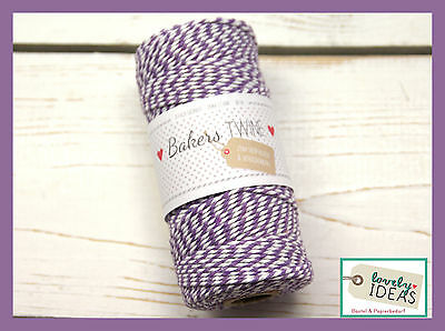 (0.09€/m) Baker's Twine PURPLE/WHITE 90m Roll Bakers Cord Craft cord