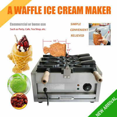HOT Commercial Nonstick Electric 3pcs Fish Waffle Ice Cream Taiyaki Maker