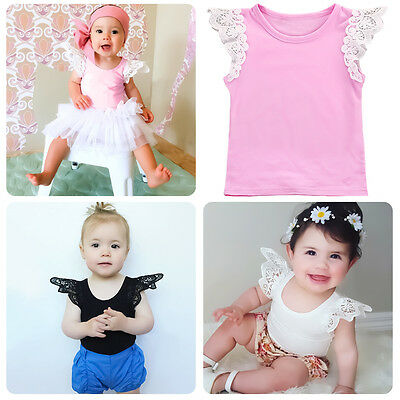 Baby Toddler Girl Cotton Lace Wing Sleeve T-shirt Tops Soft Tank Top Clothes