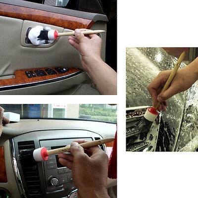 7Sizes Soft Car Detailing Brushes Cleaning Dash Trim Seats Wheels Wooden Handle