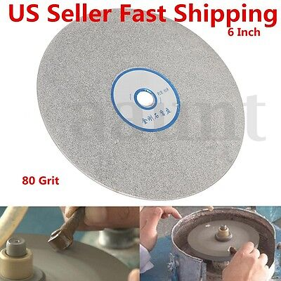6'' Diamond Coated Disc Flat Lapidary Polishing Wheel Grinding Pad Tools 80 Grit