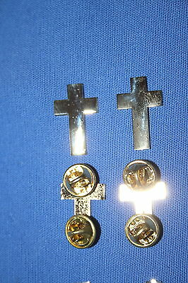 Us Ww2 & British Canadian Army Chaplain Cross Collar Badges Insignia Gold Metal