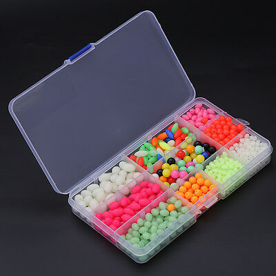 1000Pcs/Box Mixed Color Glow Round Oval Fishing Beads Sea Fishing Lures LJ