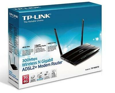 Tp-Link Td-W8970 Modem Router 300Mbps Wi-Fi Wireless Adsl2+ Gigabit Access Point