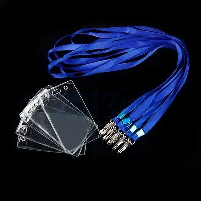 1PC Plastic Business Work ID Card Badge Holder Neck Strap Lanyard Blue Clear CG