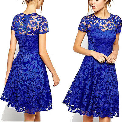Fashion Women's Short Sleeve Lace Casual Evening Party Cocktail Short Mini Dress