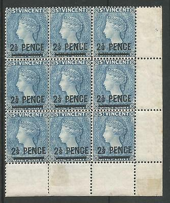 ST VINCENT SG55 THE 1890 2.5d on 1d GREY BLUE MARG BLOCK OF 9 FINE MINT C.£225+