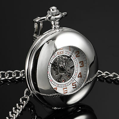 ESS Half Hunter Skeleton Silver Case Gold Mens Mechanical Pocket Watch Gift