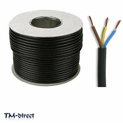 3183Y 3 Core 1.5mm Round Black Mains Electrical Cable Flex Wire BY THE METER
