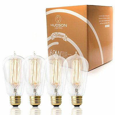 Vintage Antique Style Edison Bulb 4 Pack Squirrel Cage Filament 60 Watt E26 Bulb