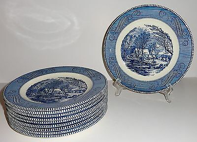 "Royal China USA CURRIER & IVES Blue 10"" Dinner Plate(s) - As Many As You Need"