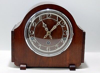 Art Deco style Smiths Mahogany Westminster Chime mantel clock working order