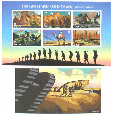 Jersey World War I Military 2 min sheets 2016 issue mnh -Somme-Gallipoli