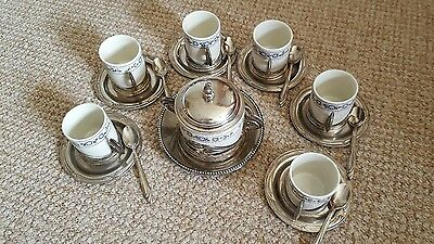 silver plated coffee cup set