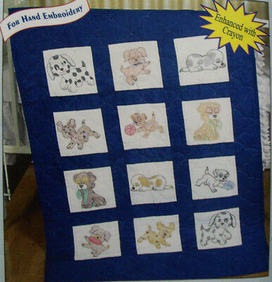 Preprinted Stamped Embroidery Quilting Blocks with Stitching PUPPIES Fabric K...