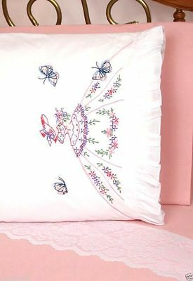 Preprinted Stamped Embroidery Pillowcases with Ruffles Stitching LADY & BUTTERFL