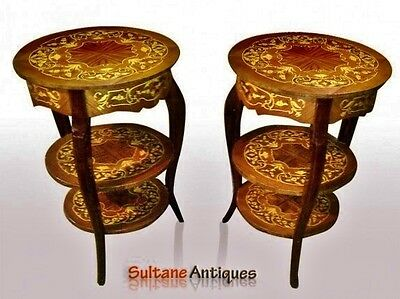 Marvelous PAIR 3 TIER Louis XV style wine-side tables