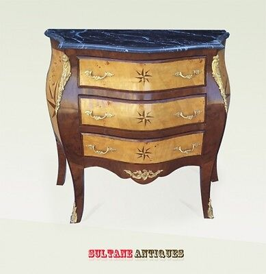 Beautiful Marble top marquetry Louis XV style Commode