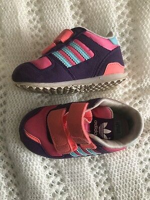 Adidas  Trainers Purple & Pink Size Uk 4 Kids Infant Toddler