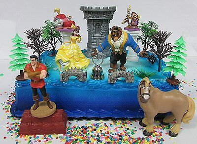 Beauty and the Beast Birthday Cake Topper Set Featuring Belle, The Beast and