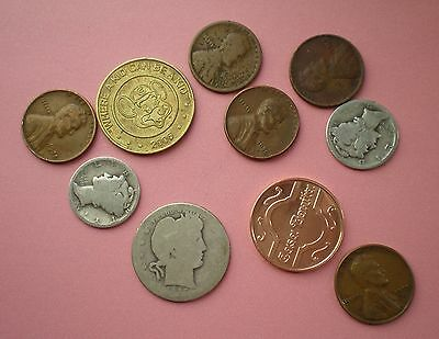 Lot Of 10 Coins/tokens From Gramma's Sock Drawer