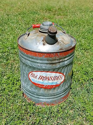 Vintage Old Ironsides 2 gallon Metal Gas Can