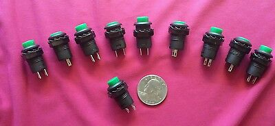 10 New Green12V On/Off Latching Push Button Switch Locking For projects.