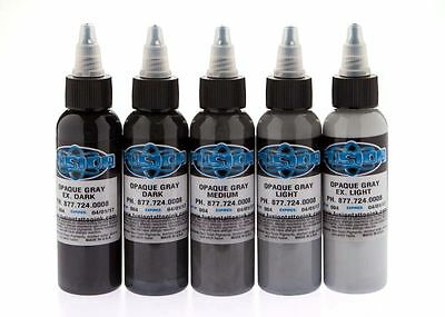 FUSION TATTOO INK Original Pigments Opaque Gray Set of 5 Bottles 1 oz 30 ml USA