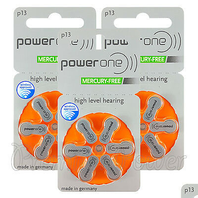 Power One 13 Size Hearing aid batteries * Zinc air Mercury free Varta x 60 cells