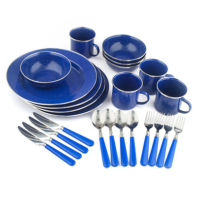 Camping Enamel Tableware Plate Set Blue 24 Piece Dinnerware Dishes, FAST US SHIP