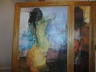 Pair of Paintings by VOLKER. 'Woman at sea' and 'Girl with a headscarf'