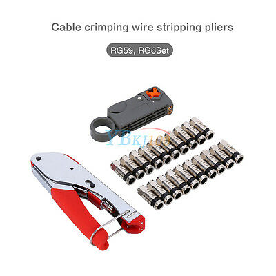 Coaxial Compression Connector Stripper ToolKit For RG6 RG59 Coax Cable CrimperS