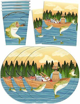 Gone Fishing Birthday Party Supplies Set Plates Napkins Cups Tableware Kit for