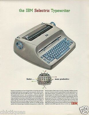 1965 IBM Selectric Typewriter New Font TYPE BALL Element is FASTER Vtg Print Ad