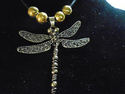 """Brass /Bronze Dragonfly Necklace flexible tail 2.5"""" pendant with 22k gold  beads"""