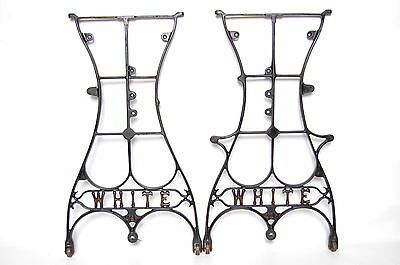 """White Sewing Machine Co. Antique Table Legs Vintage Industrial Treadle 28"""""""