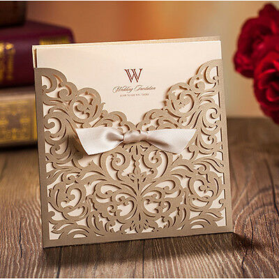 Gold Personalised Laser Cut Wedding Day Evening Invitation Card & Envelopes Seal