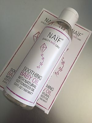2 X NAIF Soothing Baby Oil Massage 100ml Natural Cotton Seed HYPOALLERGENIC
