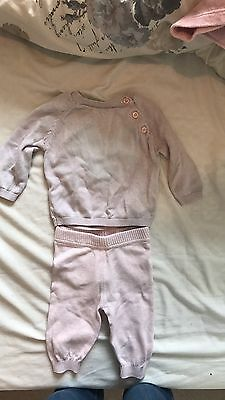 Baby Girl M&S Pink White Heart Track suit 0-3