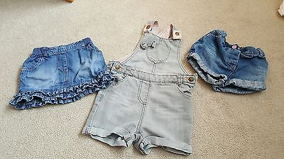 girls denim skirt, shorts and dungarees 18-24 months