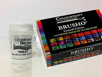 Colourcraft Brusho Crystal Paint Colours Assorted Pack of 24 15g pots