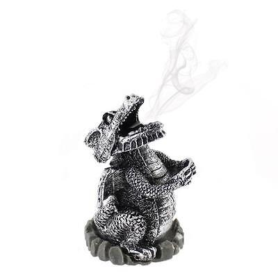 Cute Silver Dragon Incense Cone Holder Burner - Mouth Smoke Resin Gothic Dragon