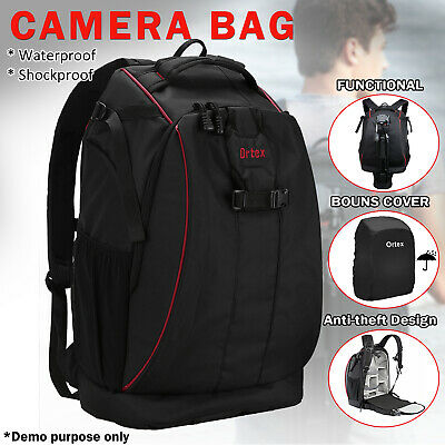 Waterproof Digital Camera Backpack Bag Black Case SLR DSLR for Canon Nikon Sony