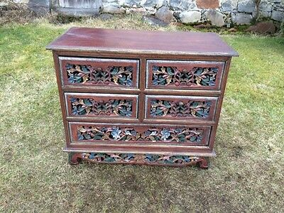 Vintage Painted And Carved Chest of Drawers