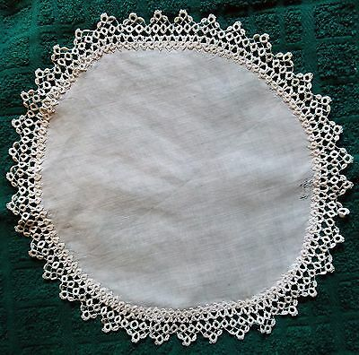 Vintage linen and tatted embroidery doily