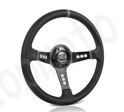 "350mm Sparco 4"" /9cm Deep Dish Black Leather Sport Racing Steering Wheel"