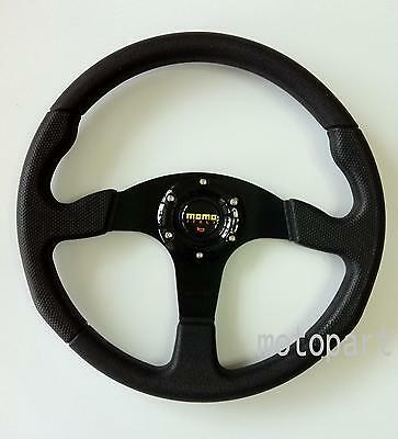 350mm MOMO Car Steering Wheel PU Leather Sport + Horn Button Auto Black