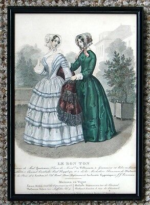 VERY RARE ANTIQUE FRAMED MID 18OOs HAND COLOURED LADIES FASHION PRINT LE BON TON